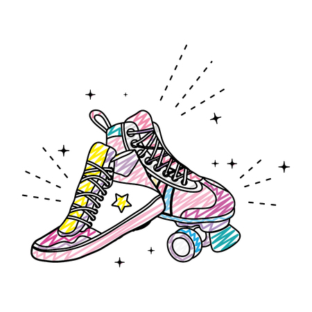 doodle roller skate style and fashion sneaker vector illustration