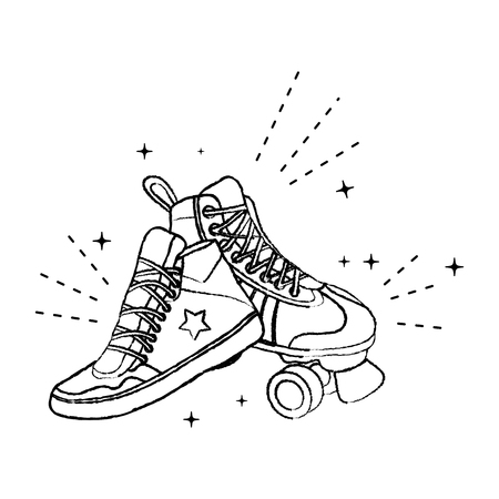 grunge roller skate style and fashion sneaker vector illustration