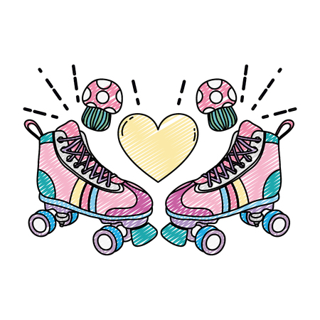doodle roller skate style with fungus and heart