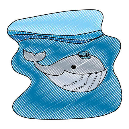 doodle whale animal with hat in the ocean landscape vector illustration 일러스트