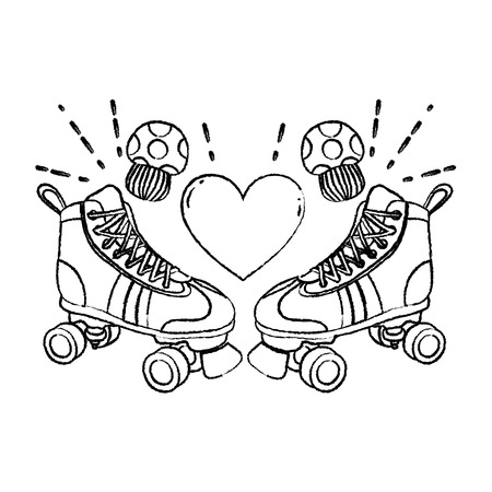 grunge roller skate style with fungus and heart vector illustration