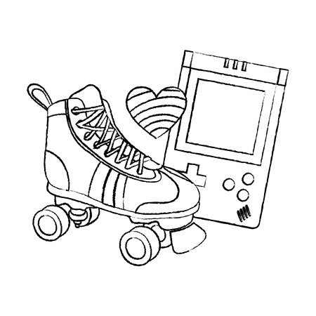 grunge roller skate with electronic game and heart style vector illustration