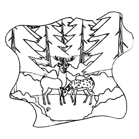 grunge couple deer wild animal in the landscape vector illustration 일러스트