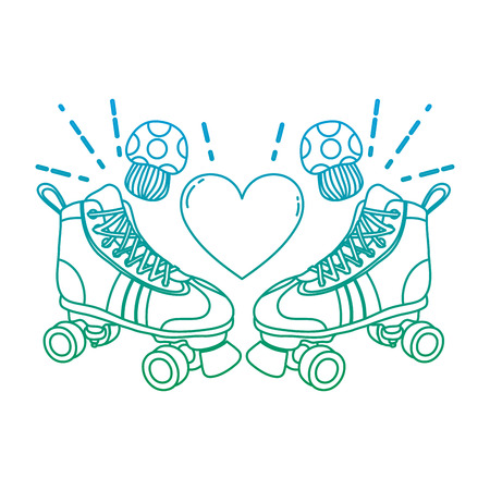 degraded line roller skate style with fungus and heart Illustration