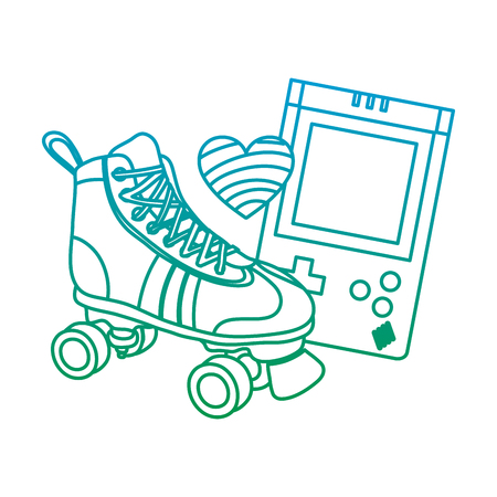 degraded line roller skate with electronic game and heart style Illustration
