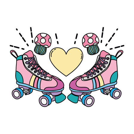 color roller skate style with fungus and heart vector illustration Stock Illustratie
