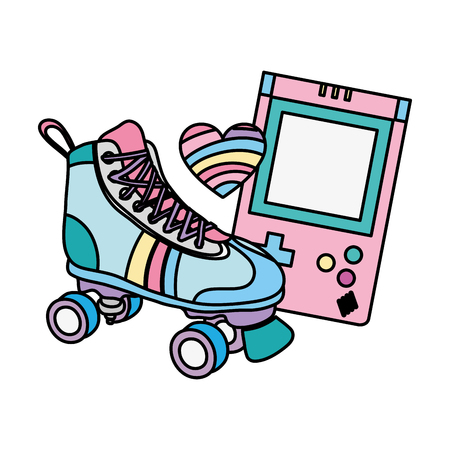 color roller skate with electronic game and heart style vector illustration