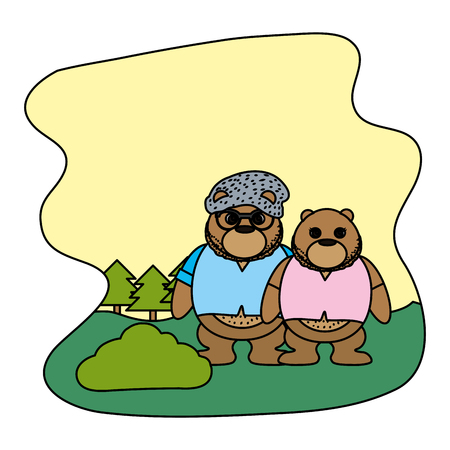 color couple bear animal with clothes in the landscape vector illustration