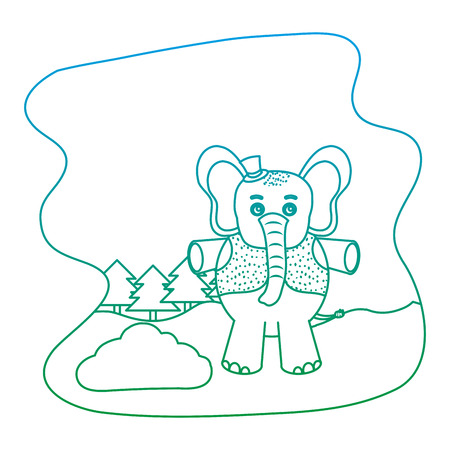 degraded line elephant animal with hat and vest in the landscape vector illustration 向量圖像