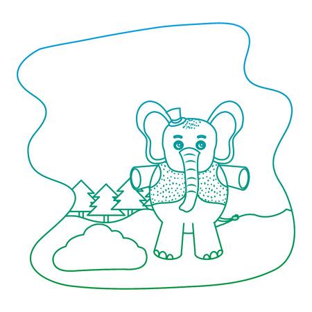 degraded line elephant animal with hat and vest in the landscape vector illustration Illustration