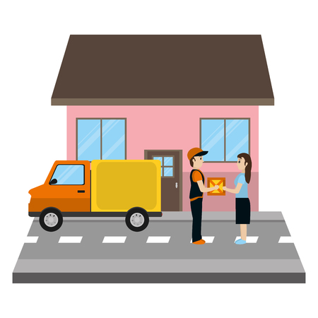 woman receiving delivery package front a house vector illustration Иллюстрация