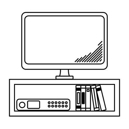 line electronic television technology in the desk with books vector illustration
