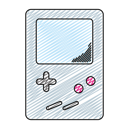 doodle electronic tetris handheld game console vector illustration