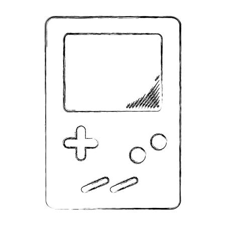 grunge electronic tetris handheld game console vector illustration