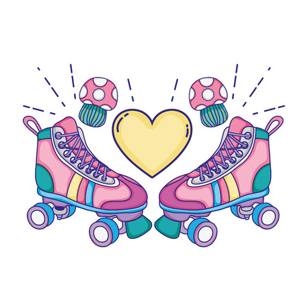 roller skate style with fungus and heart vector illustration Stock Illustratie