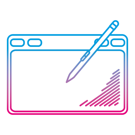 degraded line electronic graphic tablet with pen technology vector illustration