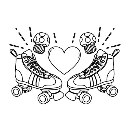 line roller skate style with fungus and heart vector illustration Stock Illustratie