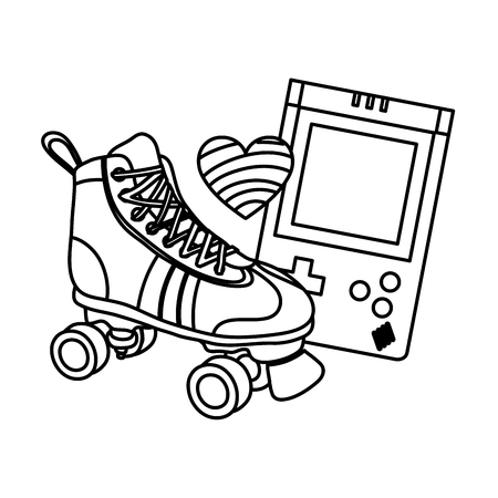 line roller skate with electronic game and heart style vector illustration Illustration