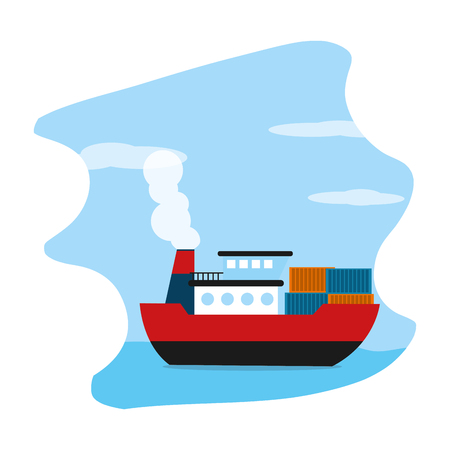 ship sea transport with delivery containers vector illustration Illustration