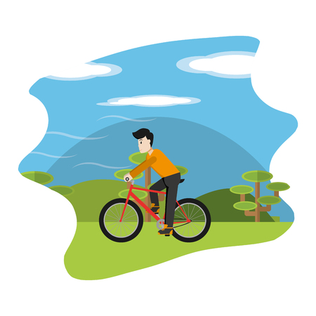 man ride bicycle in the nature landscape vector illustration