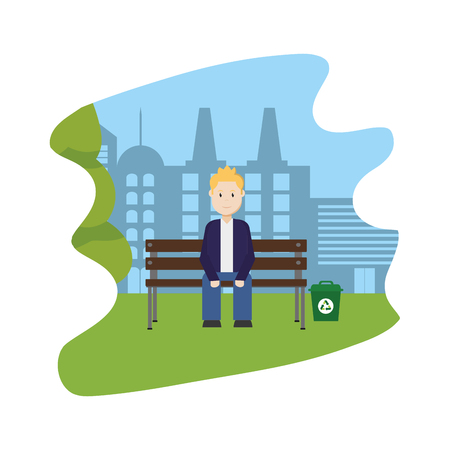 man seated in the landscape park with city building vector illustration