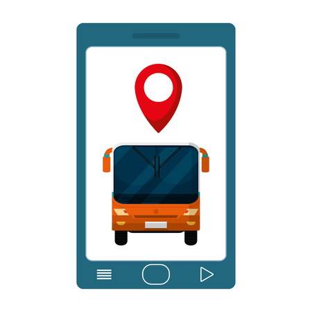 smartphone with front bus and location symbol vector illustration Vectores