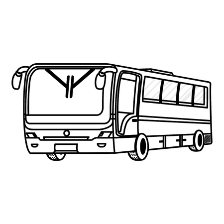 line travel bus passenger to city transport vector illustration