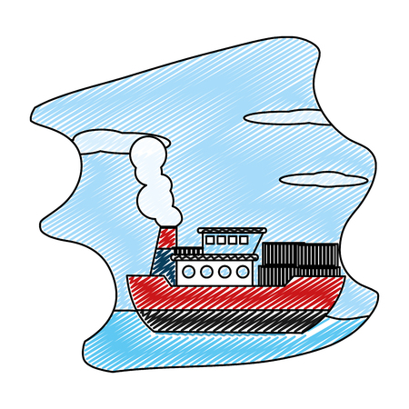 doodle ship sea transport with delivery containers vector illustration  イラスト・ベクター素材