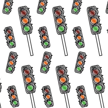 doodle safety traffic light transport background vector illustration Illustration