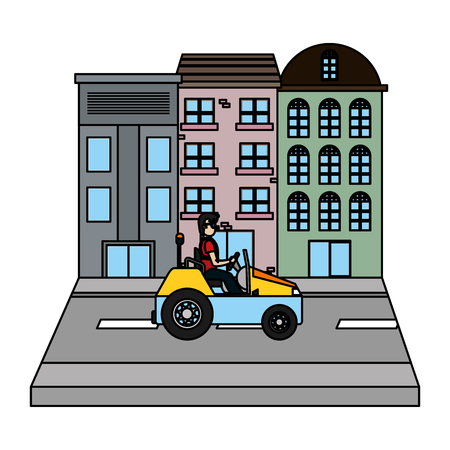 color buildings and delivery man with car in the street vector illustration