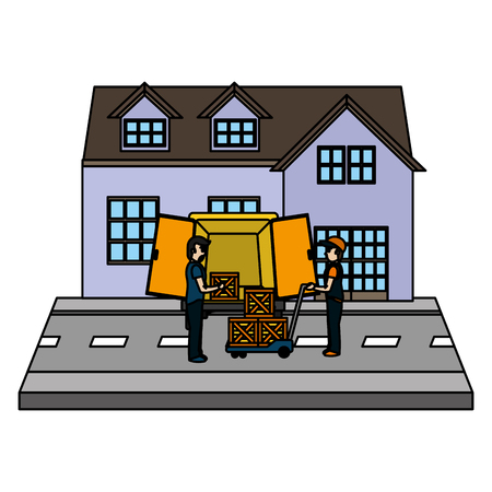 color man receiving delivery packages front a house vector illustration