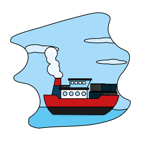 color ship sea transport with delivery containers vector illustration