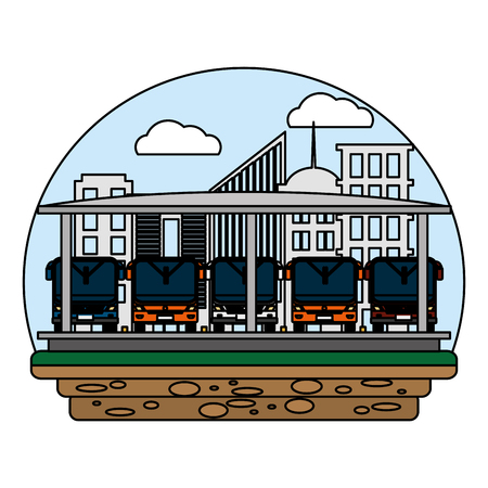 color front buses transport and city station vector illustration