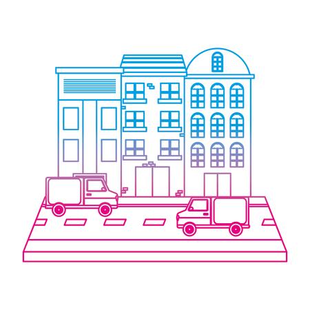 degraded line city building and trucks transport in the street vector illustration Illustration