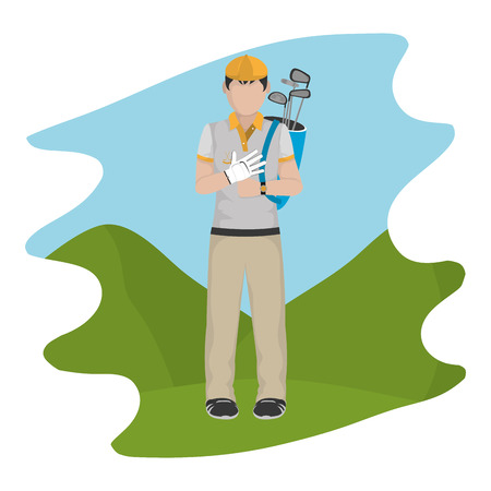 man with uniform and golf bats sport vector illustration