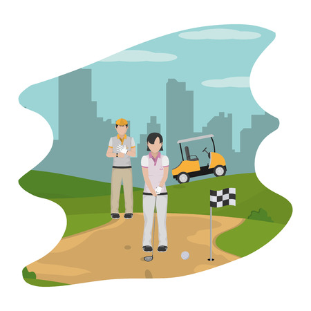 people with uniform play golf sport vector illustration