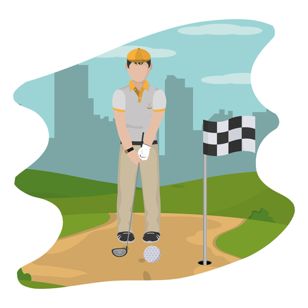 man playing golf sport with uniform vector illustration