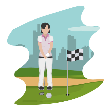 woman with uniform playing golf sport vector illustration Illustration