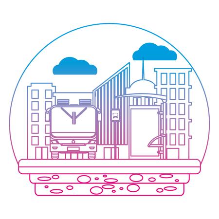 degraded line front bus transport and city passenger vector illustration 일러스트