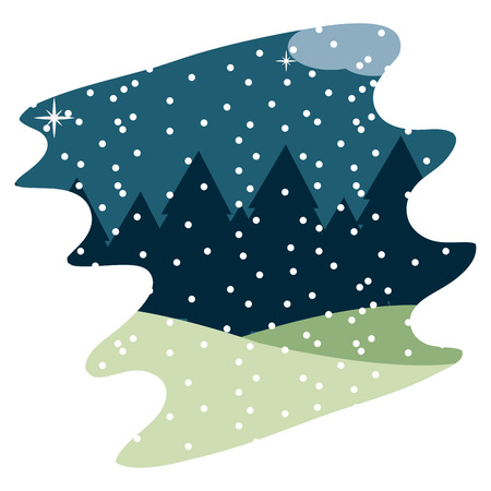 nature winter weather with snowing season and mountains vector illustration  イラスト・ベクター素材