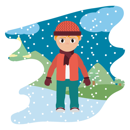 boy with winter clothes and snowing weather vector illustration