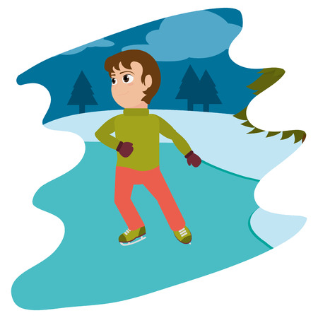 boy with ice skates in the winter weather vector illustration