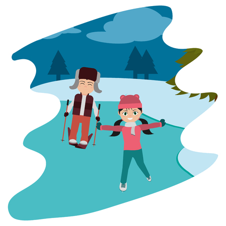 children play in the ice and winter weather vector illustration  イラスト・ベクター素材
