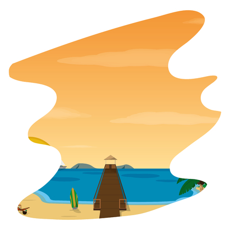 wood vigilance towel in the beach and spring vector illustration Illusztráció