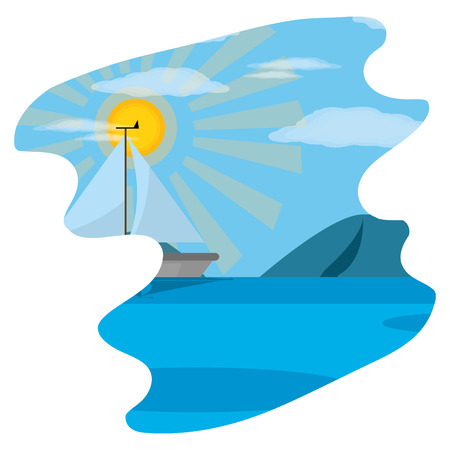 sailboat with mountains in the spring weather landscape vector illustration