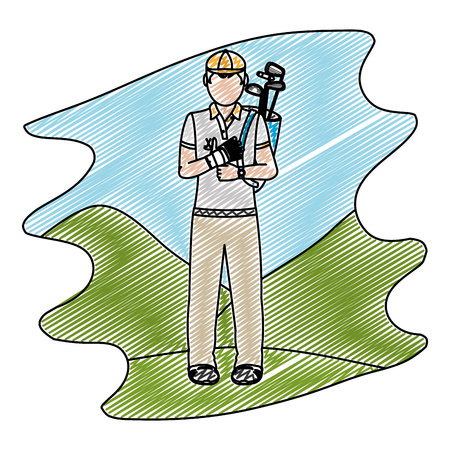 doodle man with uniform and golf bats sport vector illustration