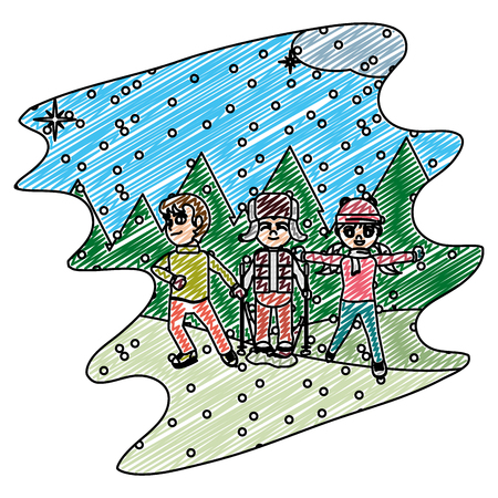 doodle children play in the snowing and winter weather vector illustration  イラスト・ベクター素材