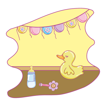 rattle and duck toys with feeding bottle vector illustration Foto de archivo - 101937369