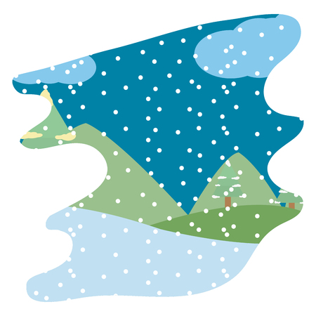 winter weather and snowing season landscape vector illustration