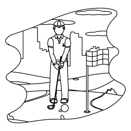 line man playing golf sport with uniform vector illustration